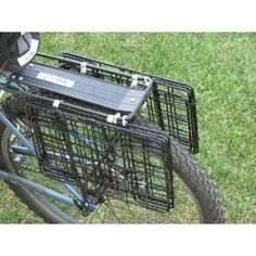 Bicycle Rear Rack Grocery Baskets, Folding - Save money and bike to the store… Bicycle Rear Rack, Indoor Bike Rack, Bikes Direct, Grocery Basket, Go Ride, Bike Equipment, Folding Bicycle, Cargo Bike, Bicycle Accessories