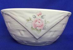 Pfaltzgraff Tea Rose Serving Bowl Basket Weave Stoneware 7 1/4 Inch Pink Green #Pfaltzgraff #Basketweave