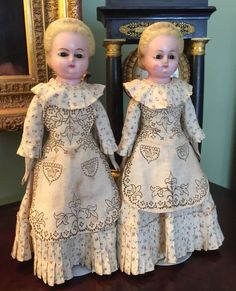 "Rare ""TWIN"" WAX over COMPOSITION DOLLS in ORIGINAL CLOTHES c1880 15"" TALL ALICE"