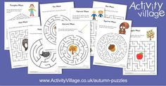 Today we've topped up our Autumn Puzzles collection with 9 new mazes, designed for a range of abilities. Why not laminate them and use with a dry wipe pen? Autumn Activities For Kids, Crafts For Kids, Activity Village, Autumn Crafts, Colouring Pages, Maze, Puzzles, Fun, Collection