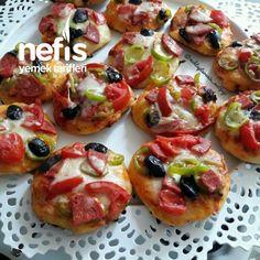 Tavada 5 Dakikada Mini Pizzalar - Nefis Yemek Tarifleri Turkish Pizza, Bruschetta, Baked Potato, Yummy Food, Yummy Recipes, Food And Drink, Fruit, Vegetables, Ethnic Recipes
