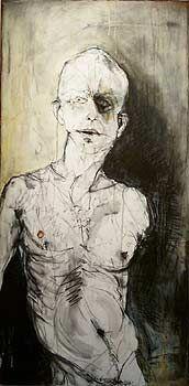 "Kris Hargis  ""Turning""  Acrylic, Conte, Grease Pencil, Gouache on Board  48"" x 24""  2004"