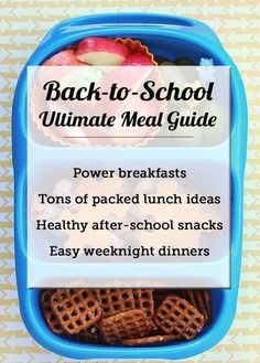 BACK-TO-SCHOOL FOOD GUIDE: power breakfasts for the kids, zillions of packed lunch ideas, healthy after school snack recipe, and easy weeknight dinner ideas - this is SUCH an amazing resource!!