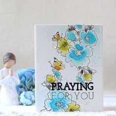 "One of my cards for the @altenewllc August Release Blog Hop!! I stamped my own sentiment ""Praying for you"" using the new Thick and Thin Alphabet stamp set!! ❤️ #altenew #altenewflower #papercraft #cardmaking #stamping #handmade #card #watercolor #flowers #floral #praying #prayingforyou #diy #bloghop #giveaway #핸드메이드 #카드 #수채화 #수제카드 #워터칼라 #기도 #꽃 #loveofgod"