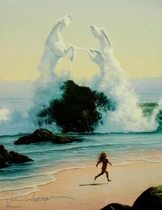 Wild horses of the surf - art by Jim Warren (tumblr)