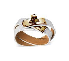 "Kelly Double Tour Hermes leather bracelet (size S) White epsom calfskin Gold plated hardware, 14.5"" long, 2.25"" diameter, 0.5"" wide"