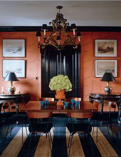 love the terra-cotta color. Interior Inspiration, Room Inspiration, Design Inspiration, Wabi Sabi, Outdoor Living, Indoor Outdoor, Orange Walls, Orange Rooms, Coral Walls
