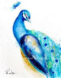 Peacock Painting - Bird Art - Peacock Illustration - Wall Art - Wedding Invitation Illustration - Peacock Print