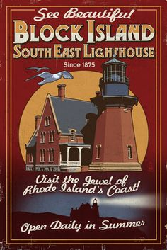Block Island, Rhode Island - Lighthouse Vintage Sign - Lantern Press Poster