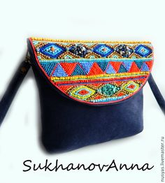 "Купить Сумка ""Азия"" - темно-синий, орнамент, сумка замшевая, сумка с клапаном, Сумка с вышивкой"