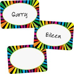 poppin patterns rainbow stripes name tags