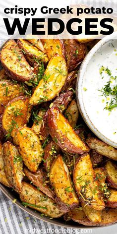 Greek Potato Wedges These potatoes wedges are loaded with all your favorite Mediterranean spices and served with a cool, creamy yogurt sauce! Easy Mediterranean Diet Recipes, Mediterranean Dishes, Healthy Food Recipes, Cooking Recipes, Tasty Vegetable Recipes, All Recipes, Bread Recipes, Holiday Recipes, Cooking Tips