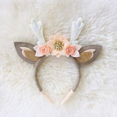 Items similar to Deer Antler Crown Headband // peaches and cream boho felt flower crown on Etsy Felt Diy, Felt Crafts, Diy And Crafts, Crafts For Kids, Arts And Crafts, Felt Headband, Baby Headbands, Crown Headband, Felt Flowers