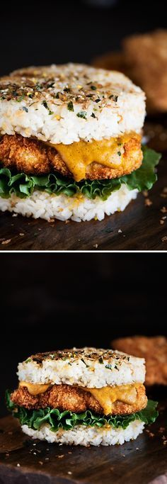 Japanese Chicken Katsu Rice Burger - Crispy on the outside, juicy & moist on the inside Chicken Katsu with Japanese curry smack in between two pan seared rice patties. Japanese Diet, Japanese Curry, Japanese Chicken, Asian Recipes, Healthy Recipes, Healthy Japanese Recipes, Rice Recipes, Healthy Eats, Carb Cycling Diet