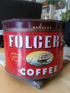 1946 Folgers Tin Vintage Tins, Vintage Coffee, Vintage Kitchen, Folgers Coffee, Coffee Cans, Enamel Ware, Landscape Wallpaper, Canning, Drinks