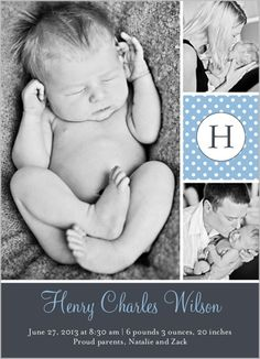 Sweet Dotted Boy Birth Announcement