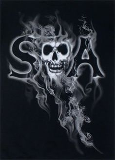 This is an officially licensed Sons Of Anarchy product. This t-shirt features the SOA logo with a smoky backgroudn. The back has the Sons of Anarchy reaper logo Art Harley Davidson, Outlaws Motorcycle Club, Motorcycle Logo, Sons Of Anarchy Motorcycles, Sons Of Anarchy Samcro, Wolf, Biker Style, Grim Reaper, Best Shows Ever