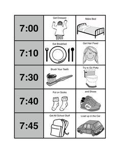 School Morning Routine Printable