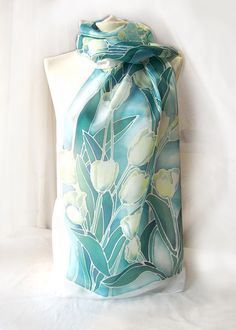 Hand painted silk scarf White Tulips  blue scarf  mint scarf