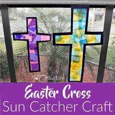 crafts for kids toddlers jesus Easter Cross Sun Catcher Craft Easter Jesus Crafts, Easter Crafts For Toddlers, Easter Crafts For Kids, Preschool Crafts, Jesus Easter, Easter Ideas, Easter Play, Vbs Crafts, Bunny Crafts