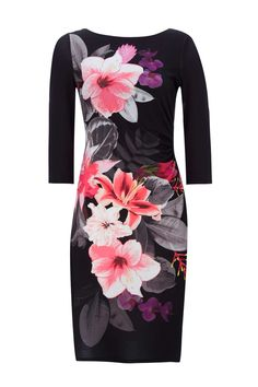 Black Tropical Floral Fitted Dress - Dresses - Clothing - Wallis