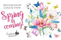 Spring is coming! Gentle watercolors by Lembrik's Artworks on @creativemarket