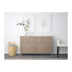 BESTÅ Storage combination with drawers - Lappviken walnut effect light gray, drawer runner, push-open - IKEA