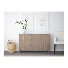 BESTÅ Storage combination with drawers - Lappviken walnut effect light gray, drawer runner, push-open - IKEA