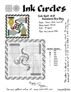Ink Circles: Pens and Needles: Fountain Pen Day Cross Stitch Pattern