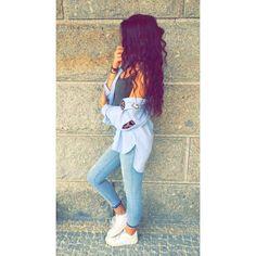 #blue #ootd #jeans #nike #beauty #style