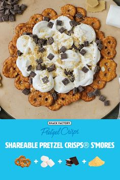 Make these shareable s'mores nachos for your next summer celebration. A twist on the classic fireside treat using Cinnamon Sugar Pretzel Crisps for an extra layer of flavor. Perfect for a camping trip or your next backyard bonfire.