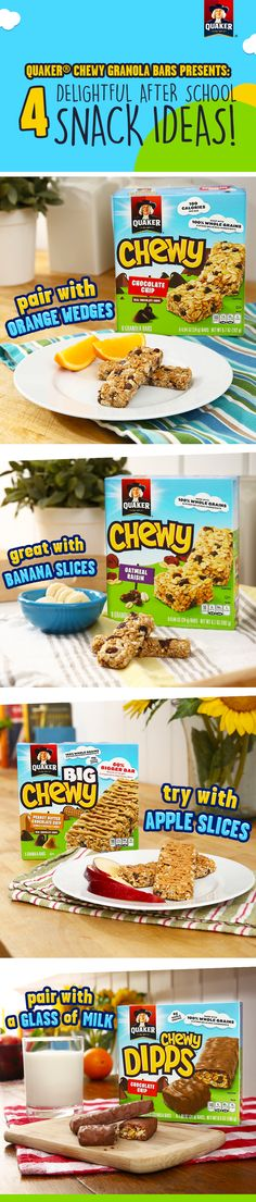 Quaker® Chewy Granola Bars are the official snack for back to school! With so many Chewylicious flavors made with 8g of 100% whole grains and other yummy ingredients, they're great to pair with fruit or milk for a delicious after school snack!