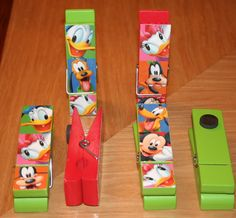 Scrapbook paper, mod podge and clothespin with magnet- definite possibility!
