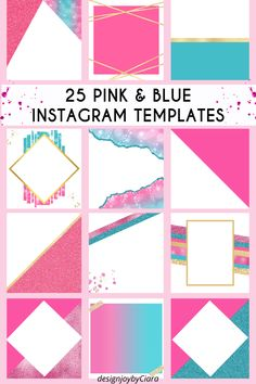 Blank Instagram Post Templates - Pink Theme, Instagram Posts, Instagram Branding Bundle, Social Media Templates, Canva Templates, social media templates, social media marketing, social media tips #pink #turquoise #gold #instagramtemplates #instagram #instagramposts #igposttemplates #templatesinstagram #instagrambundle #instagramfeed