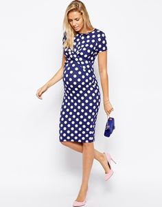 Enlarge ASOS Maternity Exclusive Body-Conscious Dress In Polka Dot  With Cross Front