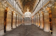 Ajanta Caves - Wide view of Cave 26, a late chaitya hall with a stupa