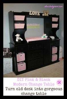 Great DIY Idea For Change Table. We put a modern spin on the traditional baby change table. Love the black with pink accents! #babyroom #babygirl.