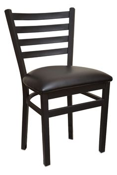 ECONOMY Ladder Back Metal Restaurant Chair with Black or Wine Vinyl Seat (Fast Shipping!)