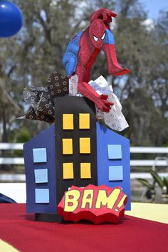 Spiderman... Hand Made center piece, made with Styrofoam and foami