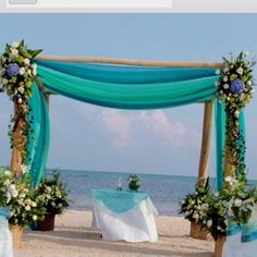 Beach wedding ideas - but with white sheets love the color, but not the venue. ill take inside with no weather disruptions anyday