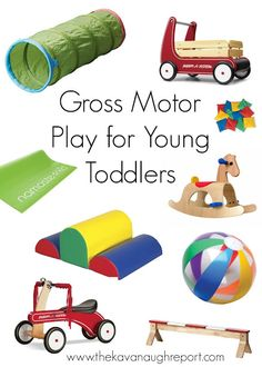 Gross Motor for Young Toddlers. Montessori friendly gross motor play ideas for young toddlers -- walking to 18 months. These are ways to keep busy toddlers moving indoors and out! So important during the sensitive period for movement.
