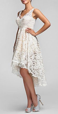 A-line/Princess V-neck Asymmetrical Lace Bridesmaid Dress; I think I would use this dress for my rehearsal dinner.