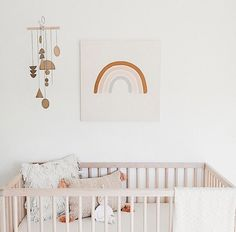 Q's ever evolving nursery. I jumped on that rainbow bandwagon because I just couldn't help myself. Love the happiness it brings :) .should i make this painting into a print? Baby Room Art, Baby Bedroom, Baby Room Decor, Nursery Room, Girl Nursery, Girl Room, Nursery Artwork, Bedroom Red, Child's Room