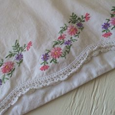Vintage Pair Hand Embroidered Pillow Cases by VintagePoppiesShop.