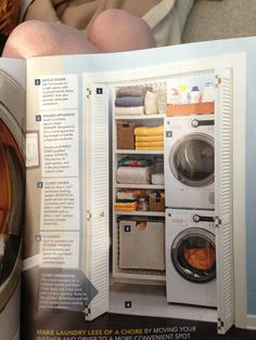 Stacked washer/ dryer, Allen + Roth ventilated shelving system (Lowe's) and pullout laundry hamper