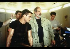 Tom Cruise & Brian DePalma review a scene in Mission: Impossible