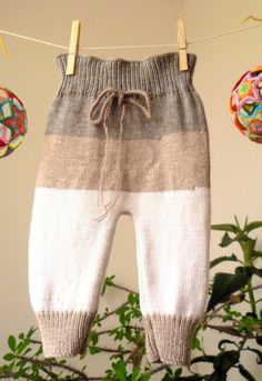 Knit Baby Pants in 3 organic color wool by KnitForYourBaby on Etsy, $37.00