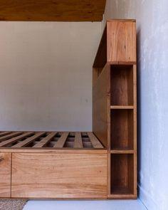 Al and Imo Custom Timber Furniture Timber Bed Frames, Timber Beds, Timber Shelves, Timber Furniture, Unique Furniture, Pallet Furniture, Custom Furniture, Bookshelf Headboard, Blue Glass Tile