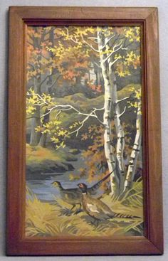"SOLD! 1960s vintage paint by number painting entitled ""Autumn's Triumph"" depicting Pheasants in the Forest."