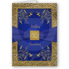 Royal Blue and Gold Wedding Invite